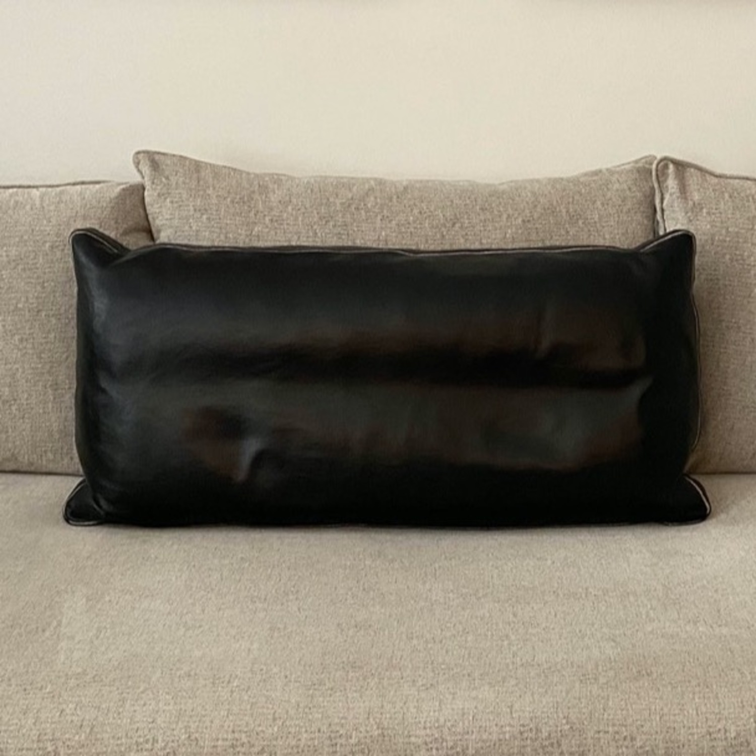 Room & Board Leather Throw Pillow with Fabric insert piping - image-1