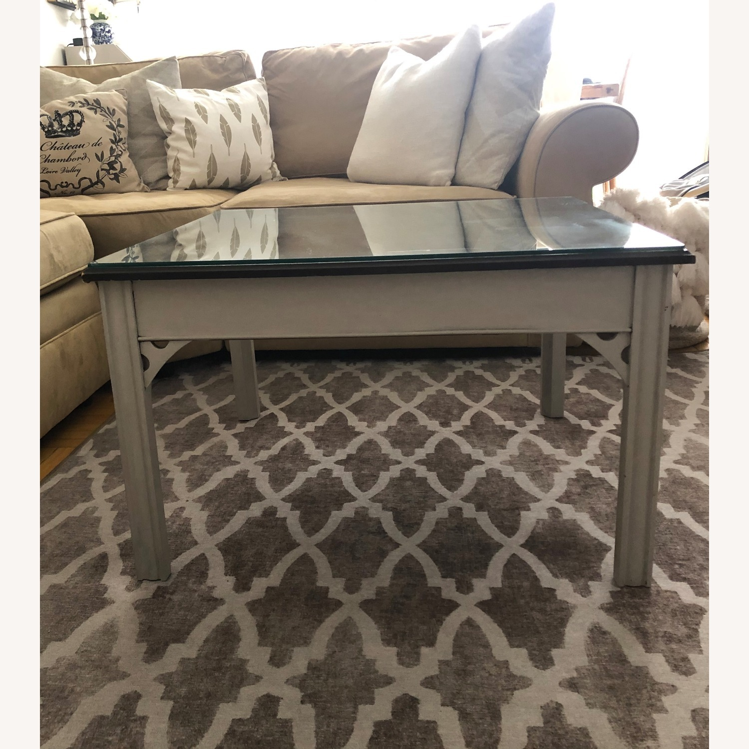 Antique Square Coffee Table - image-2