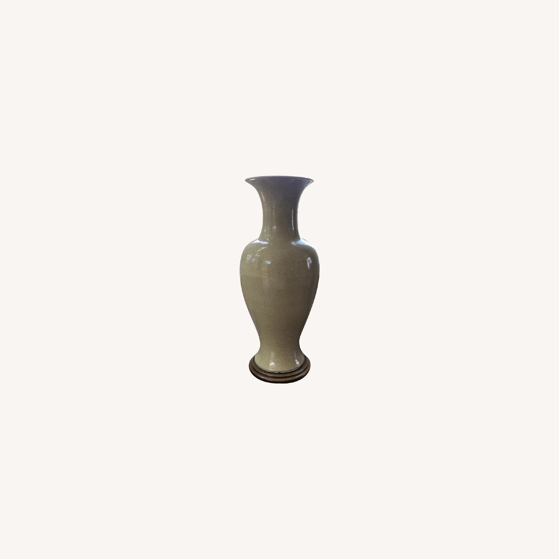 Cream Colored Crackled Ceramic Urns - image-0
