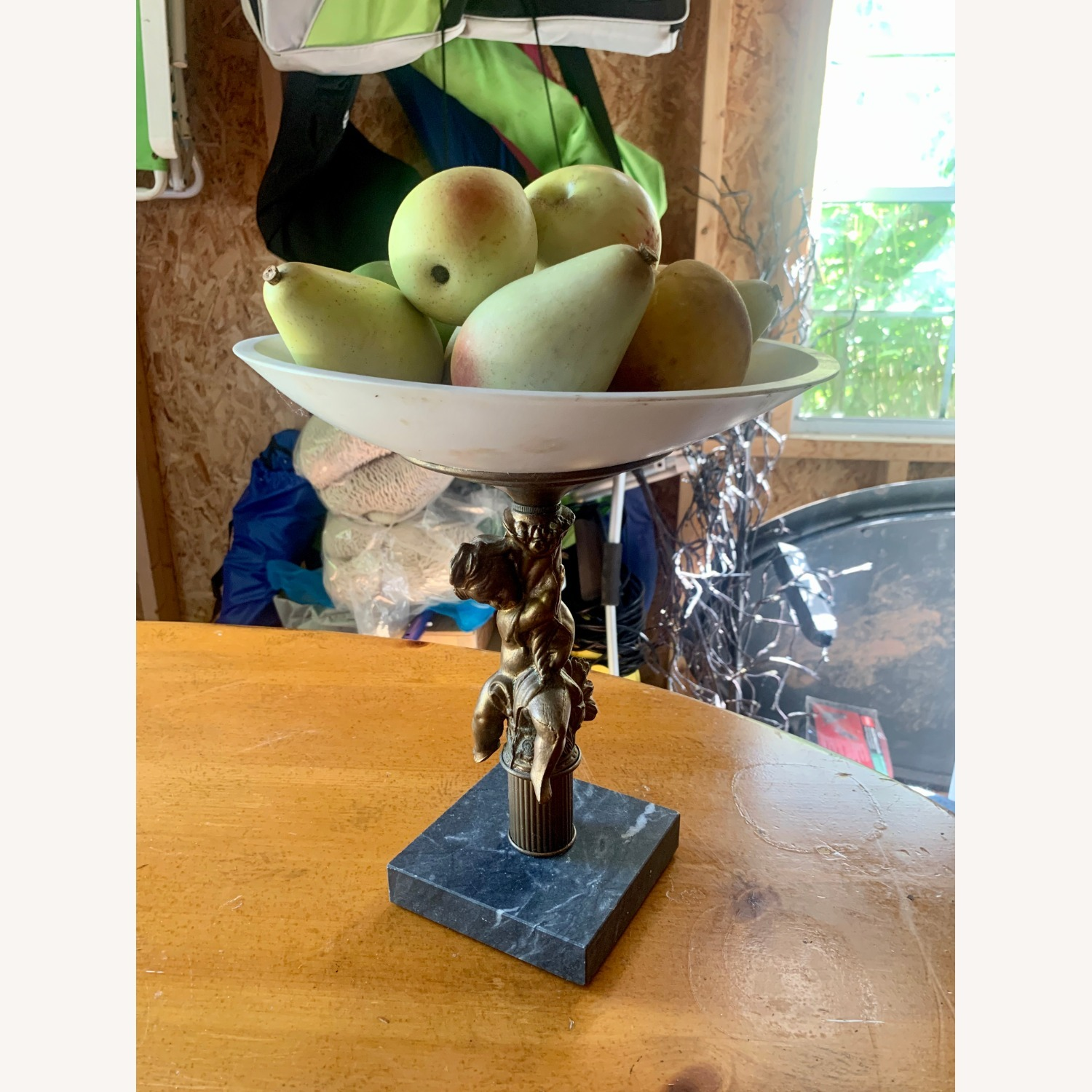 Antique Bowl with Fake Fruit - image-3