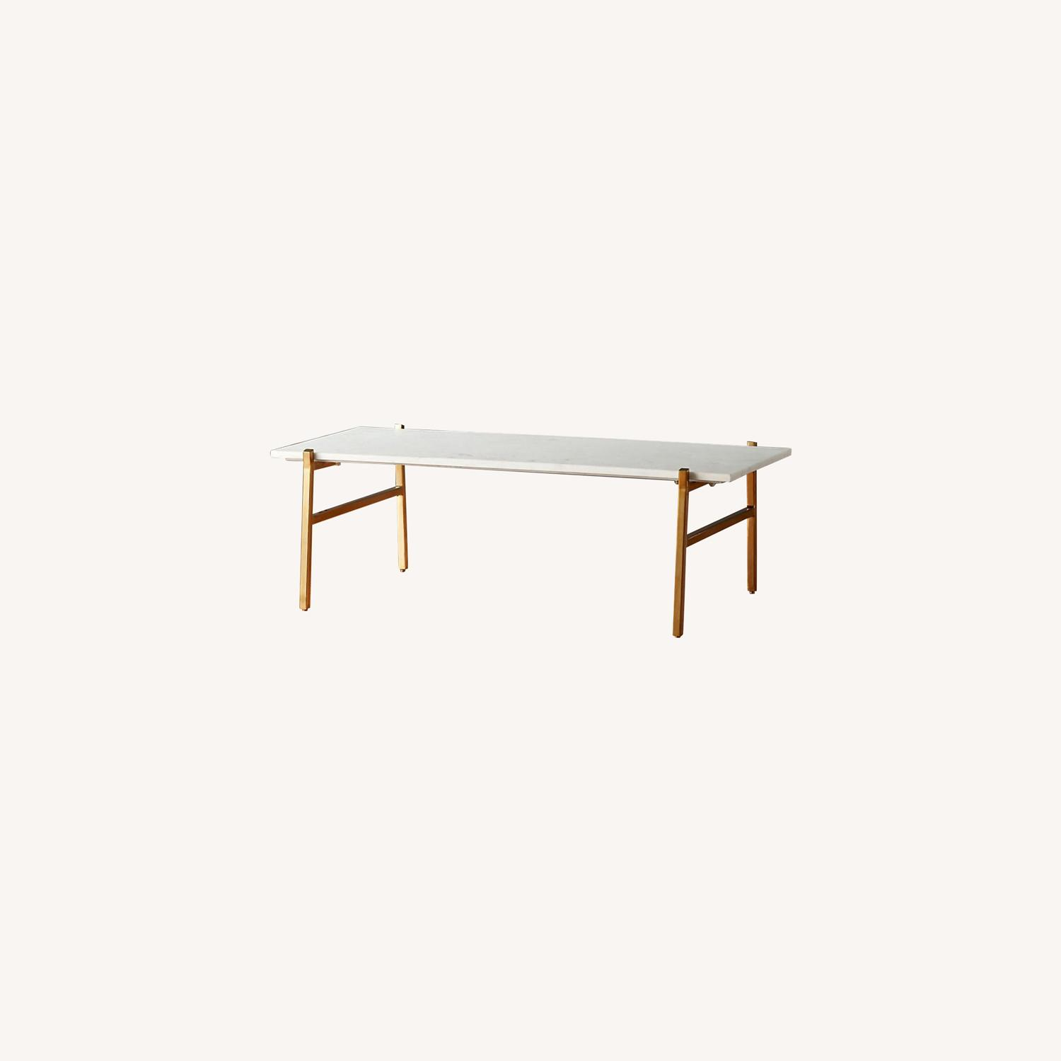 CB2 Marble Coffee Table with Brass Base - image-0