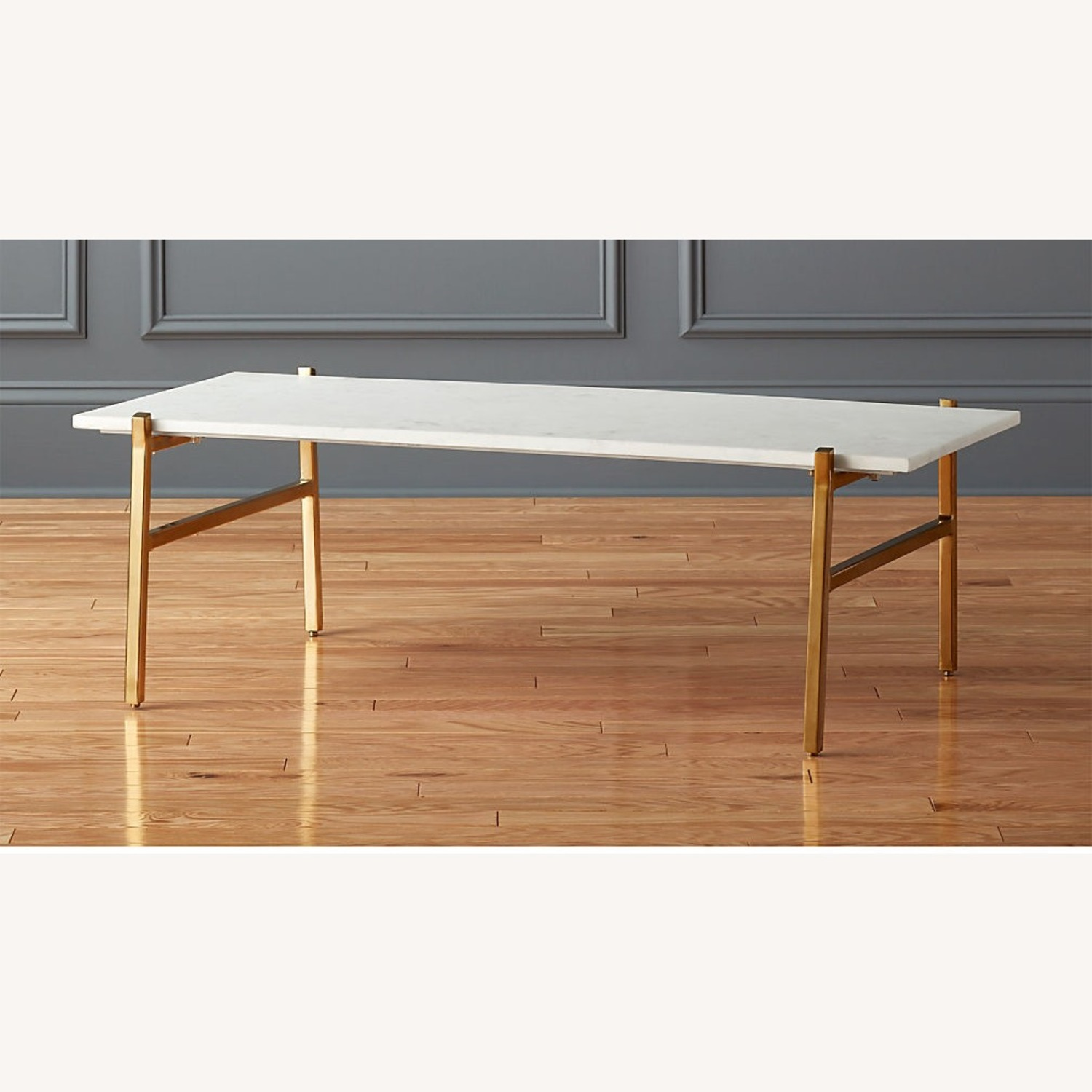 CB2 Marble Coffee Table with Brass Base - image-1