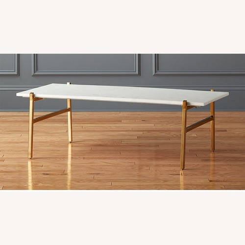 Used CB2 Marble Coffee Table with Brass Base for sale on AptDeco