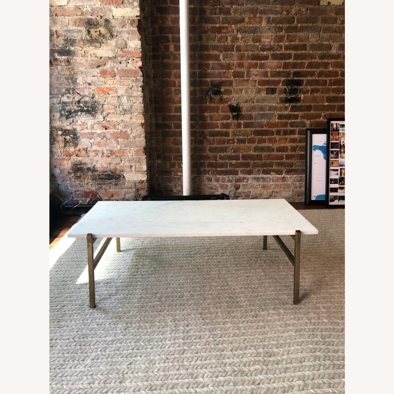 CB2 Marble Coffee Table with Brass Base - image-3