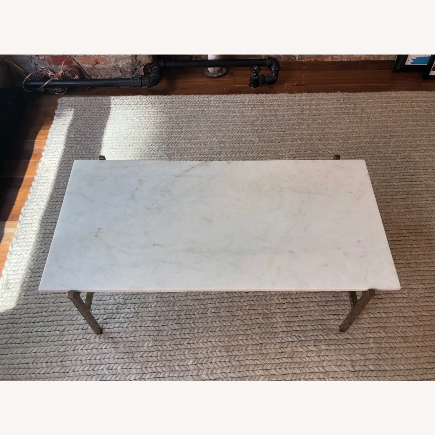CB2 Marble Coffee Table with Brass Base - image-4