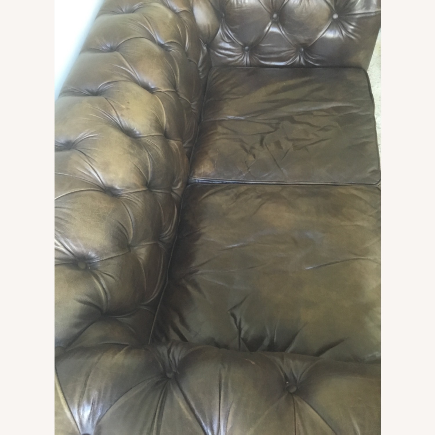 Timothy Outlon Westminster Button Leather Couch - image-6