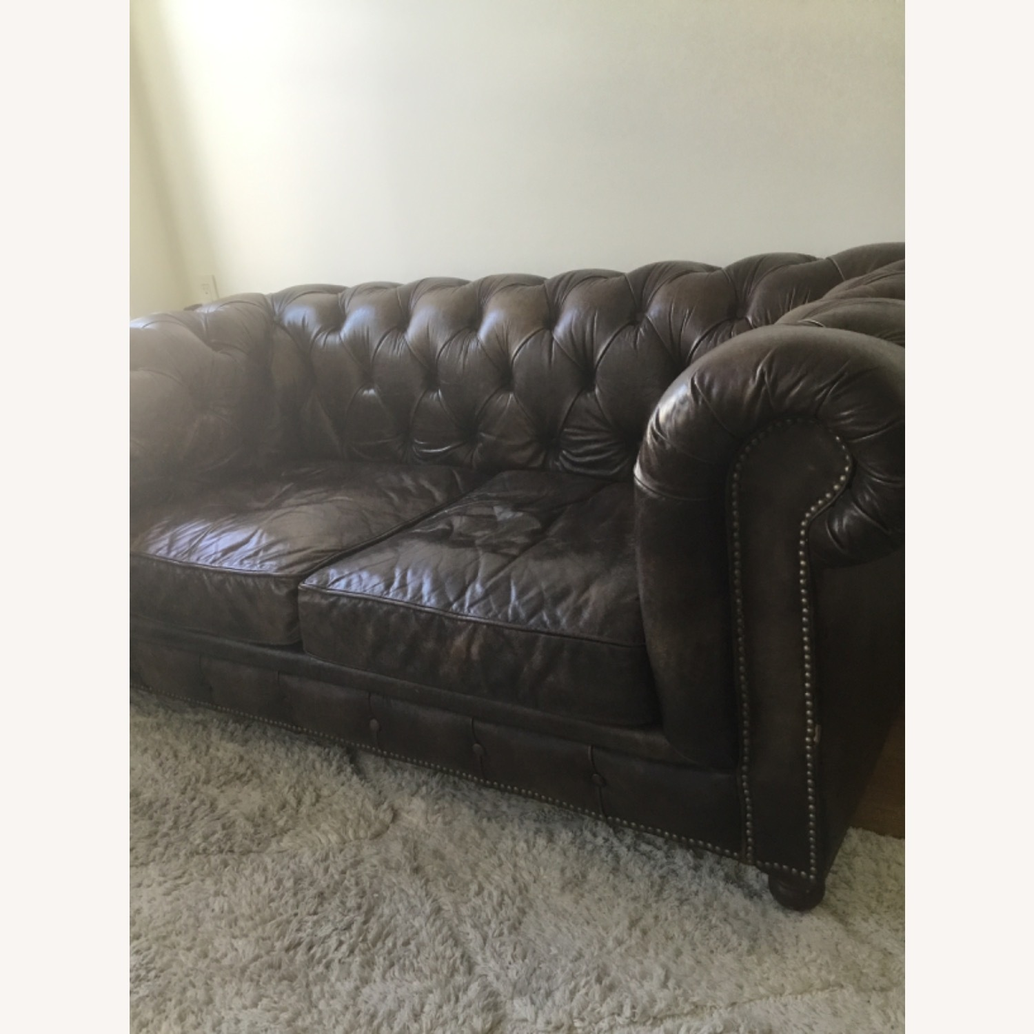 Timothy Outlon Westminster Button Leather Couch - image-7