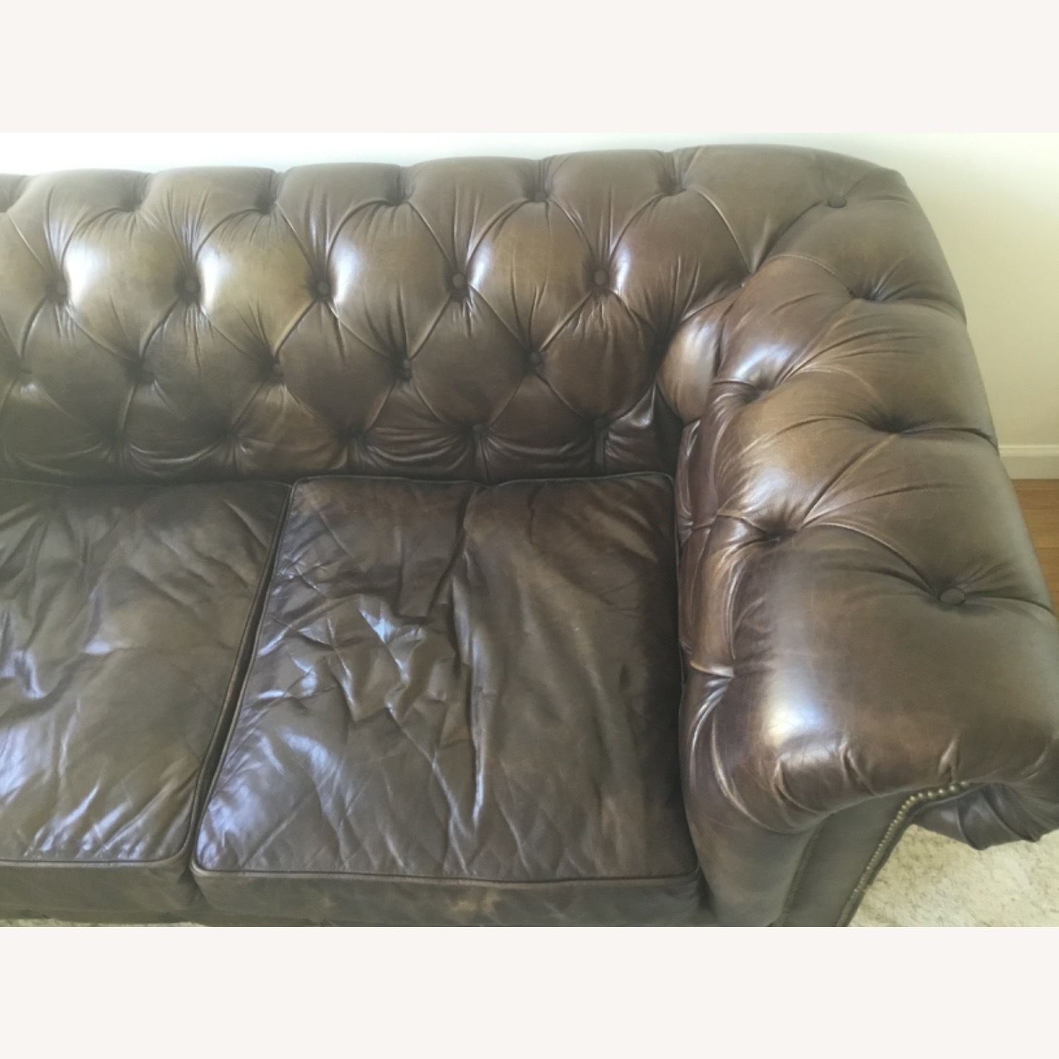 Timothy Outlon Westminster Button Leather Couch - image-4