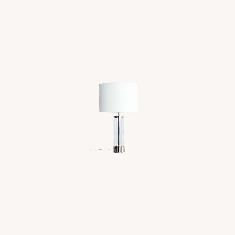 West Elm Acrylic Column Table Lamp + USB - image-0