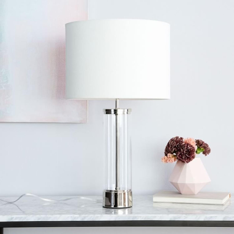 West Elm Acrylic Column Table Lamp + USB - image-2
