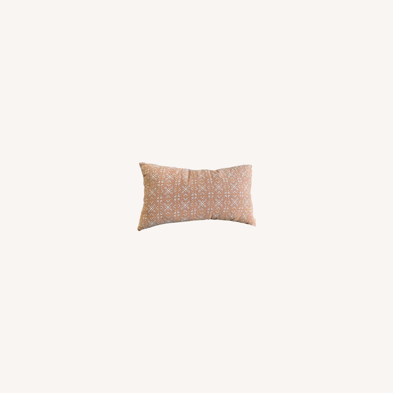 Vintage - Hmong Block Print Pillow - Terra Cotta - image-0