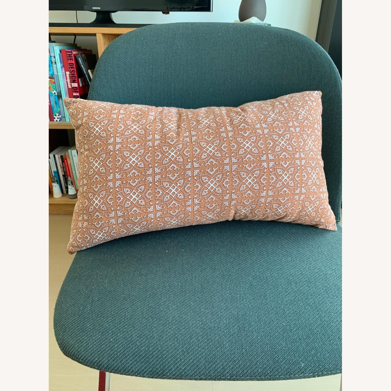 Vintage - Hmong Block Print Pillow - Terra Cotta - image-1