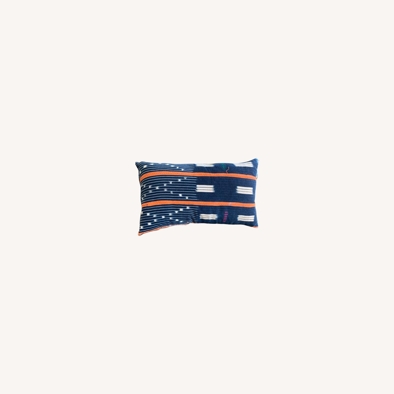 Vintage African Indigo Lumbar Pillow - image-0
