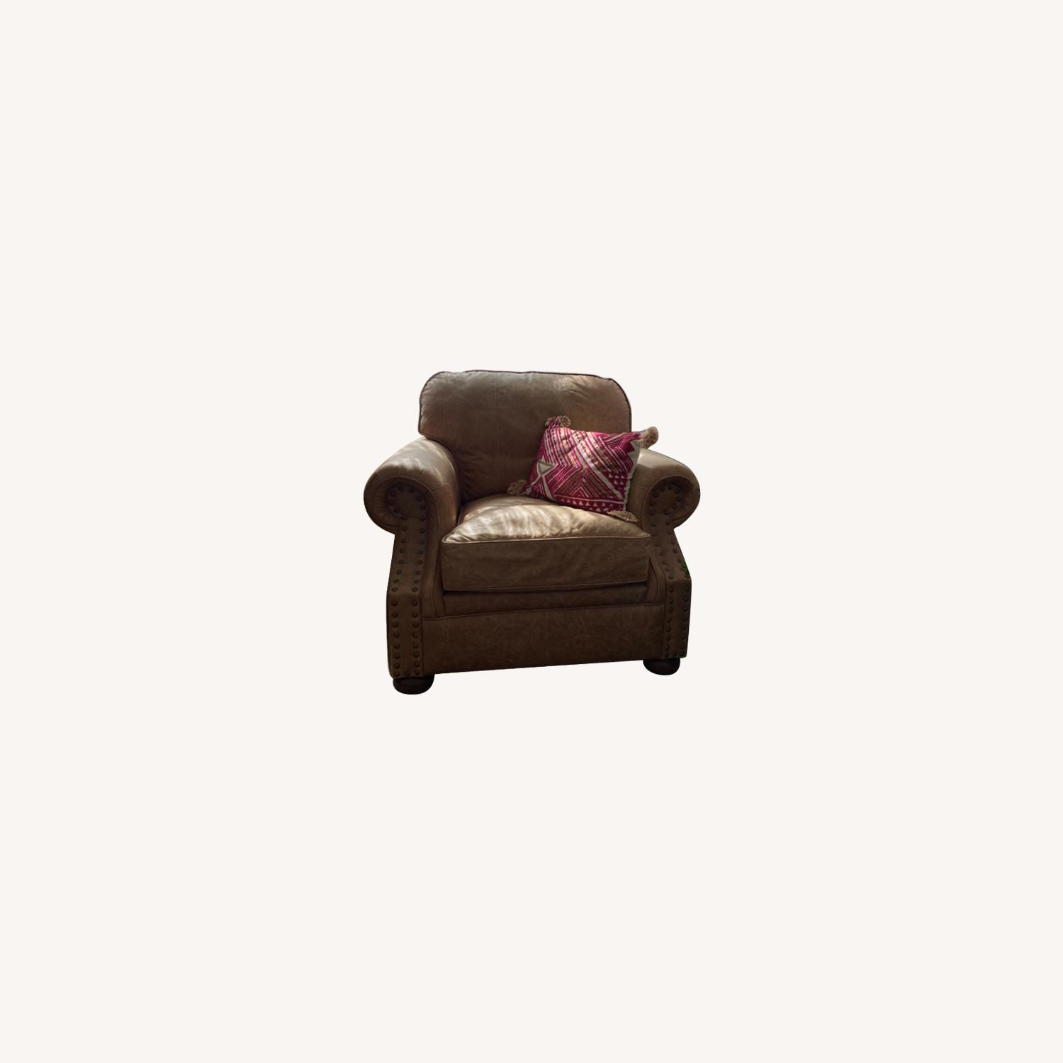 Ethan Allen Cognac Leather Chair and Ottoman - image-0