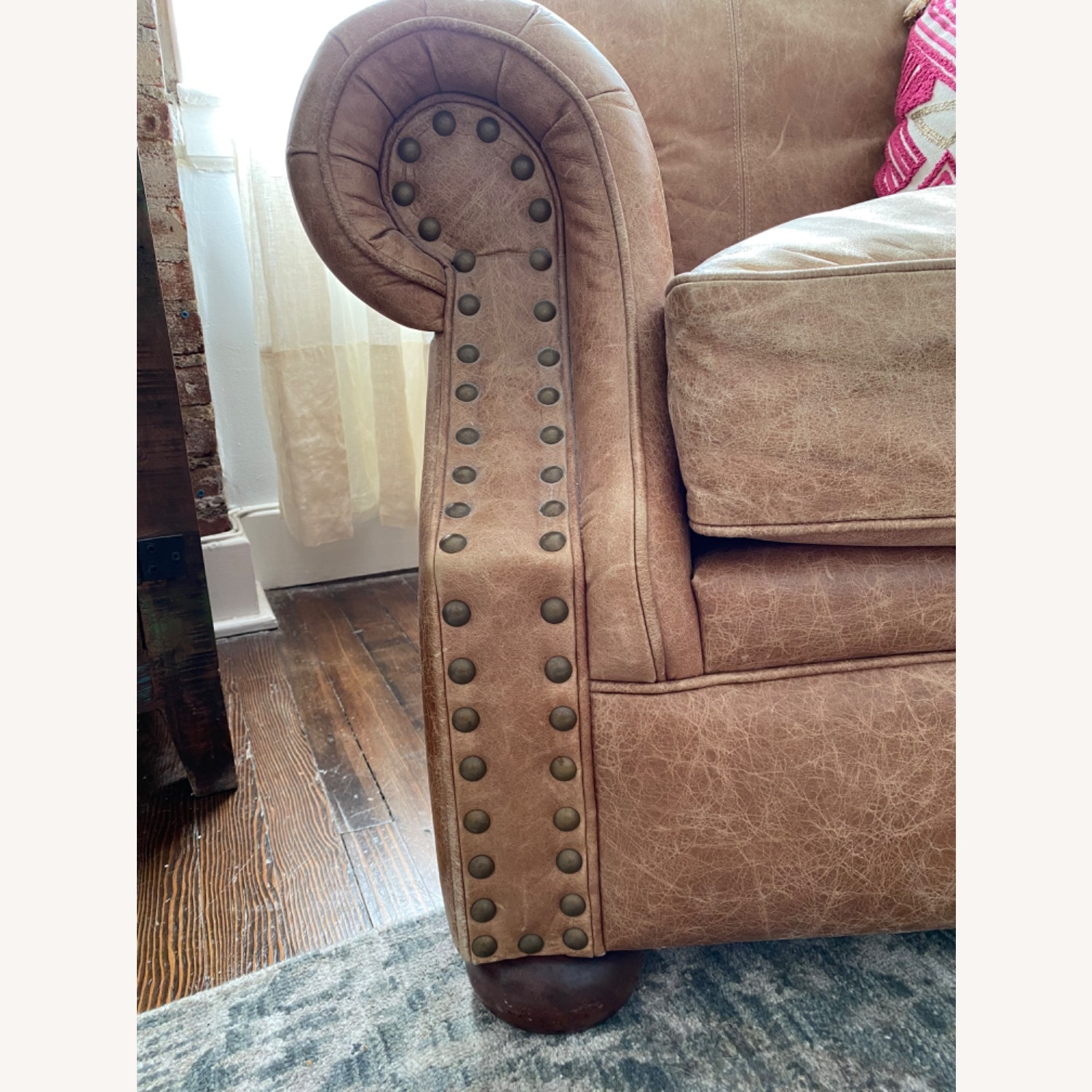 Ethan Allen Cognac Leather Chair and Ottoman - image-2