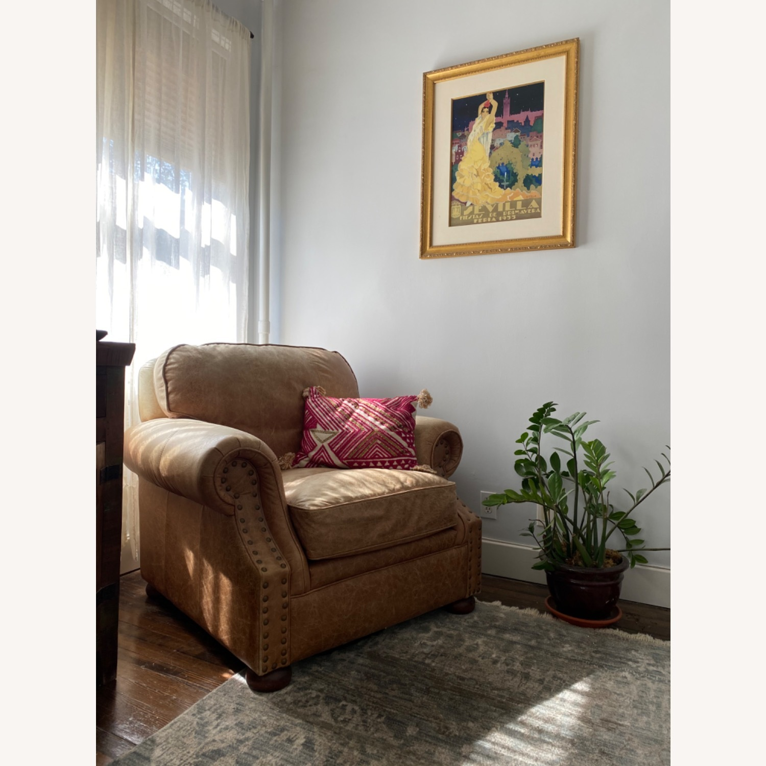 Ethan Allen Cognac Leather Chair and Ottoman - image-3