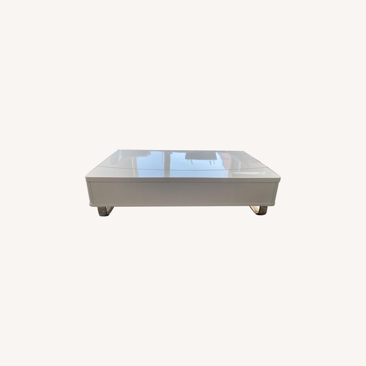 White Lacquer Lift Top Coffee Table - image-0