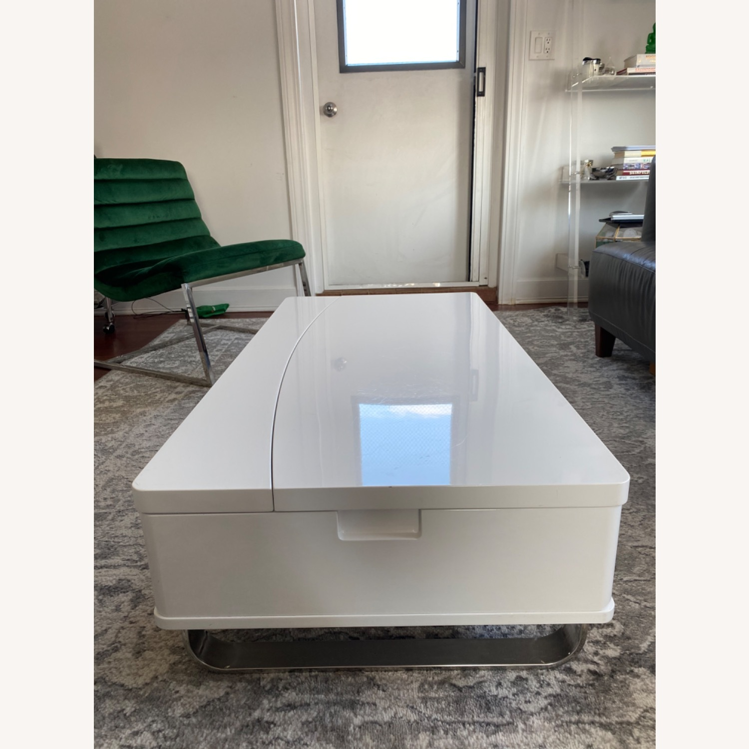 White Lacquer Lift Top Coffee Table - image-3