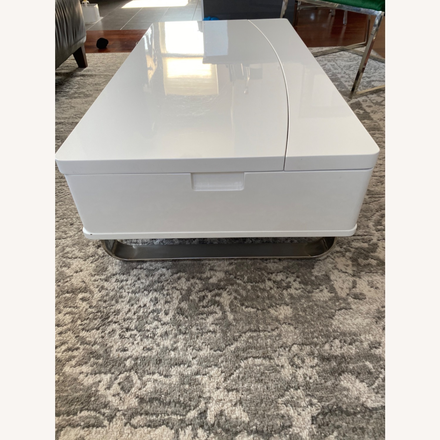 White Lacquer Lift Top Coffee Table - image-5