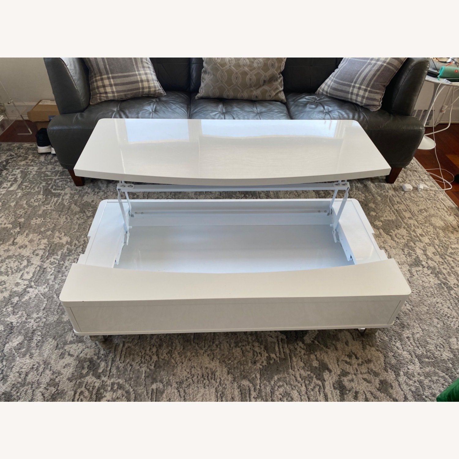 White Lacquer Lift Top Coffee Table - image-6