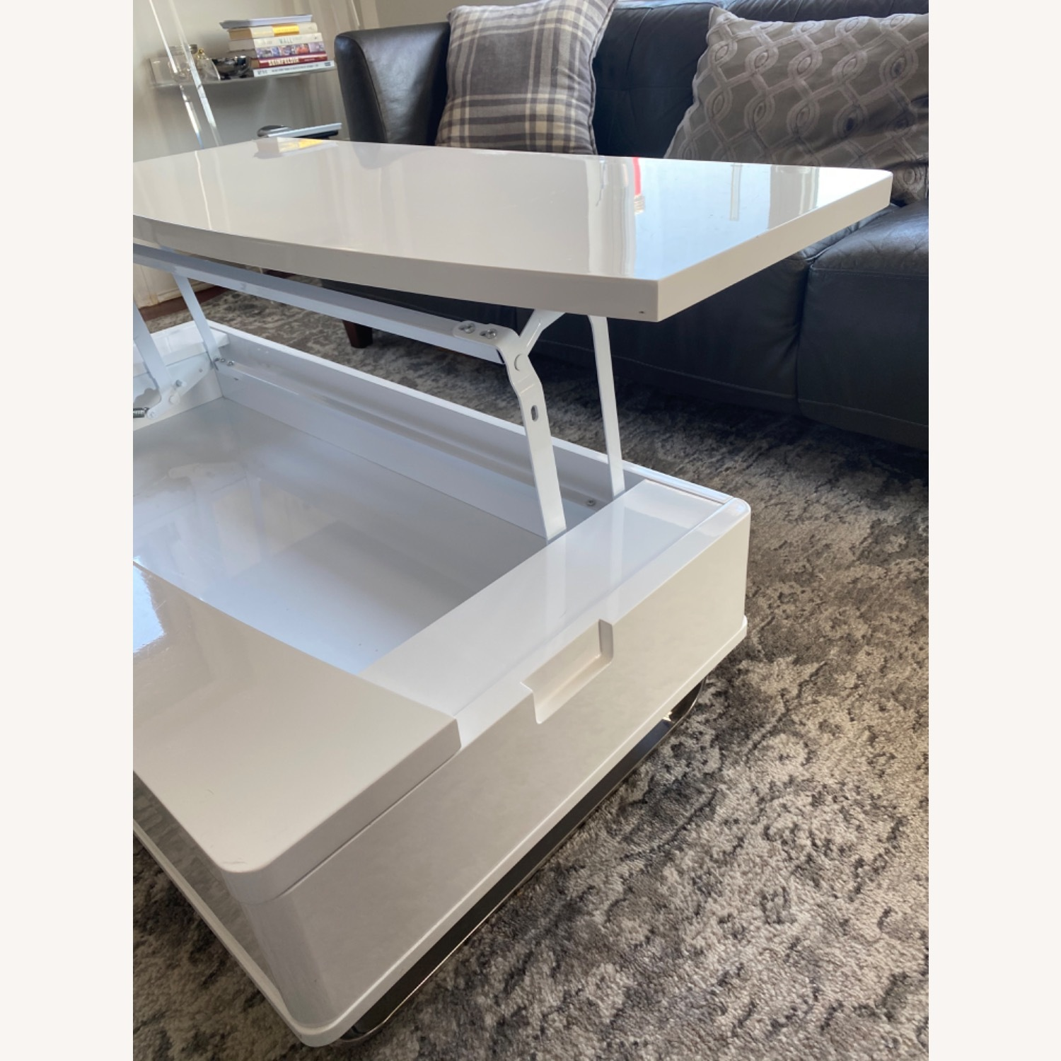 White Lacquer Lift Top Coffee Table - image-7
