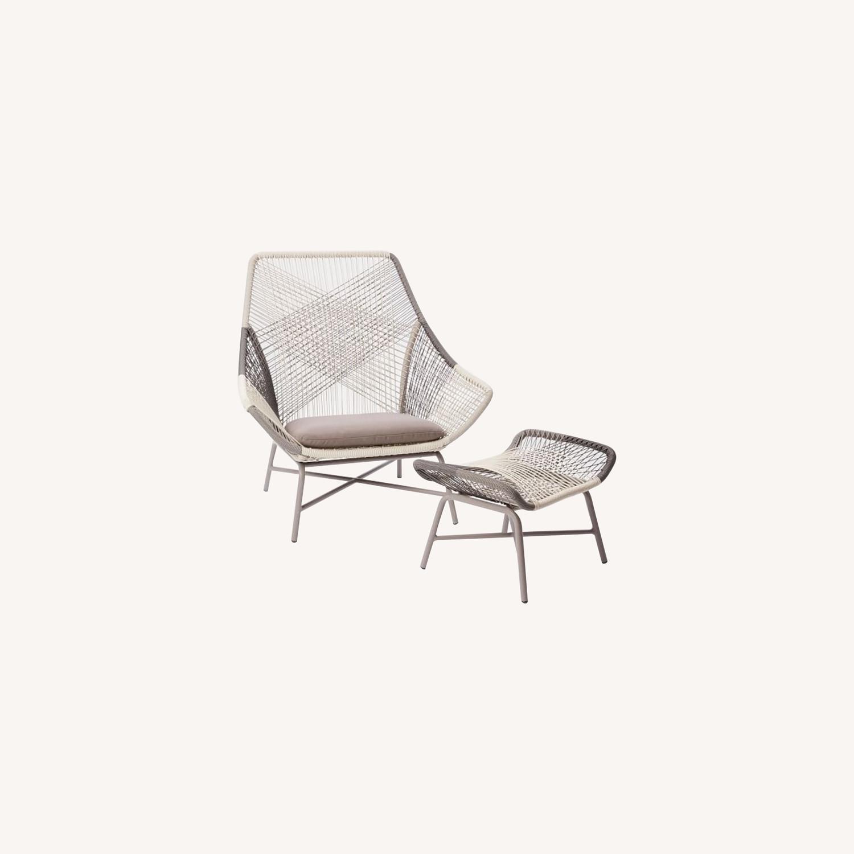 West Elm Huron Large Lounge Chair + Ottoman - image-0