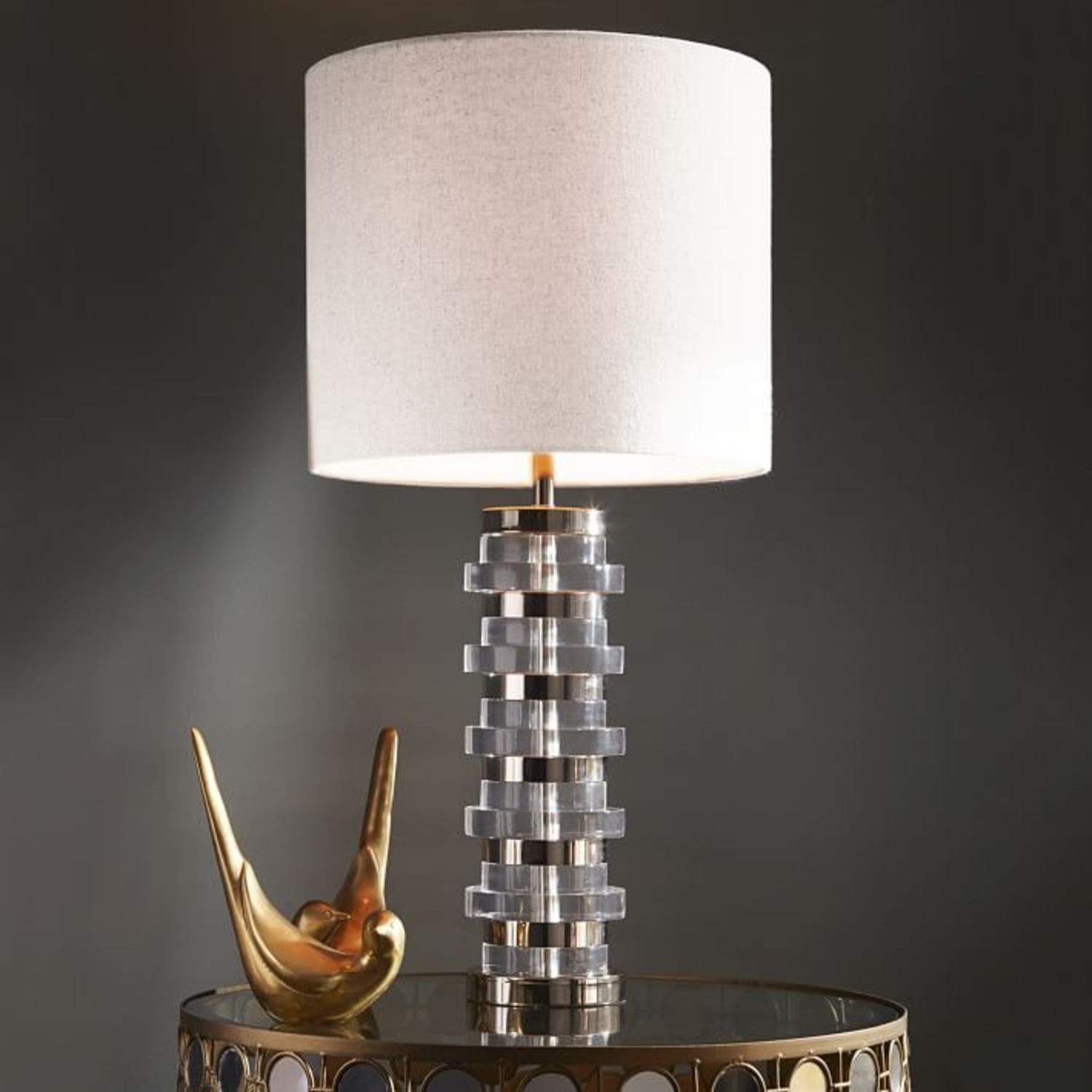 West Elm Clear Disc Table Lamp - image-3