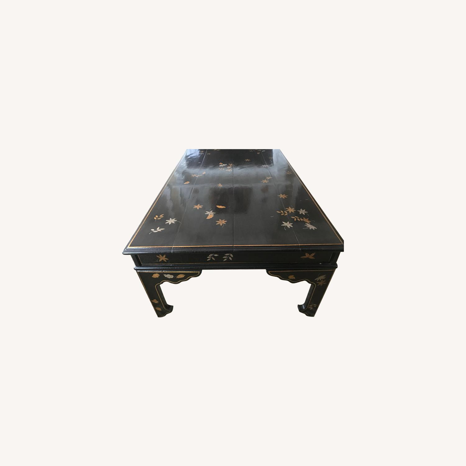 Black Coffee Table with Gold and Silver Leaves - image-0