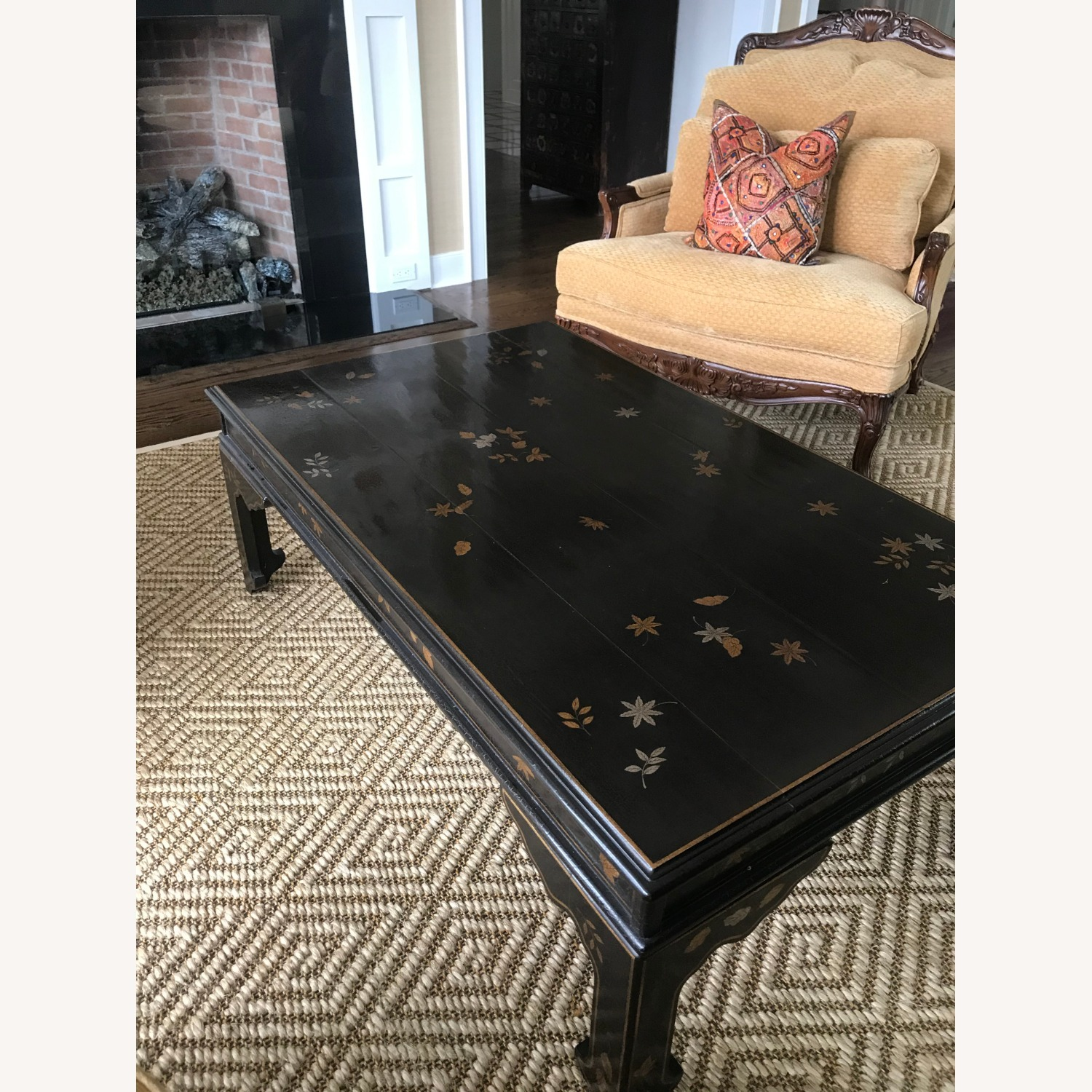 Black Coffee Table with Gold and Silver Leaves - image-1