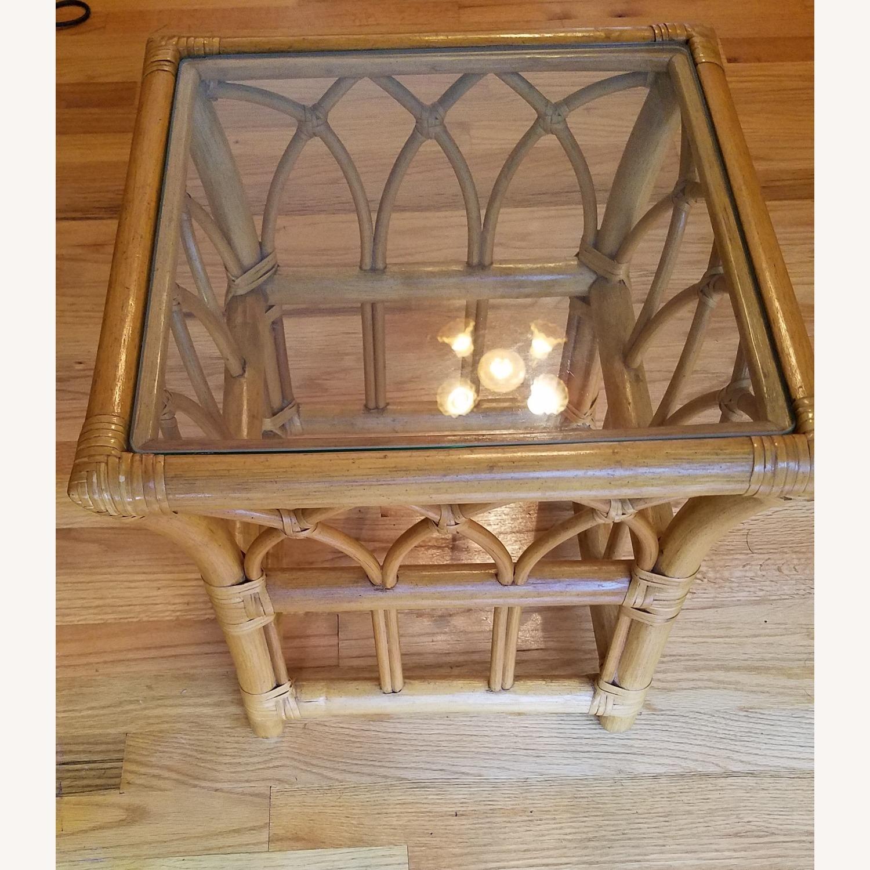Vintage Boho Rattan Accent Table - image-0