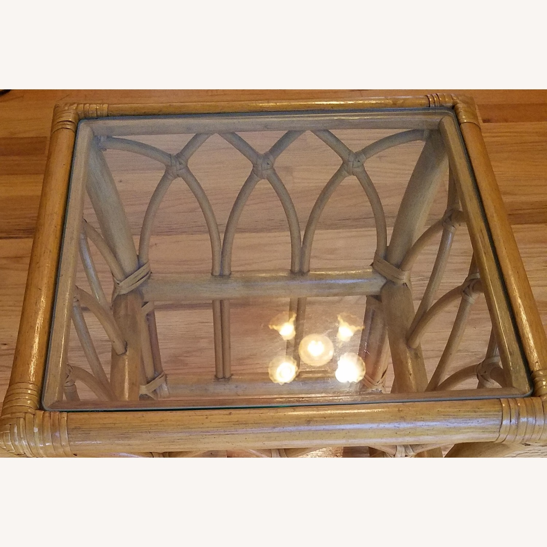 Vintage Boho Rattan Accent Table - image-4