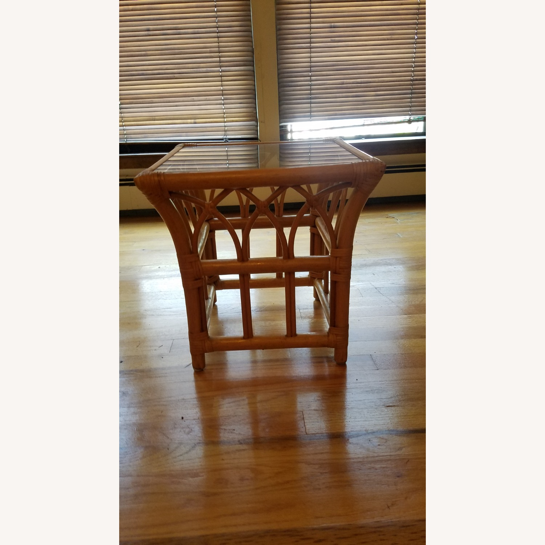 Vintage Boho Rattan Accent Table - image-5