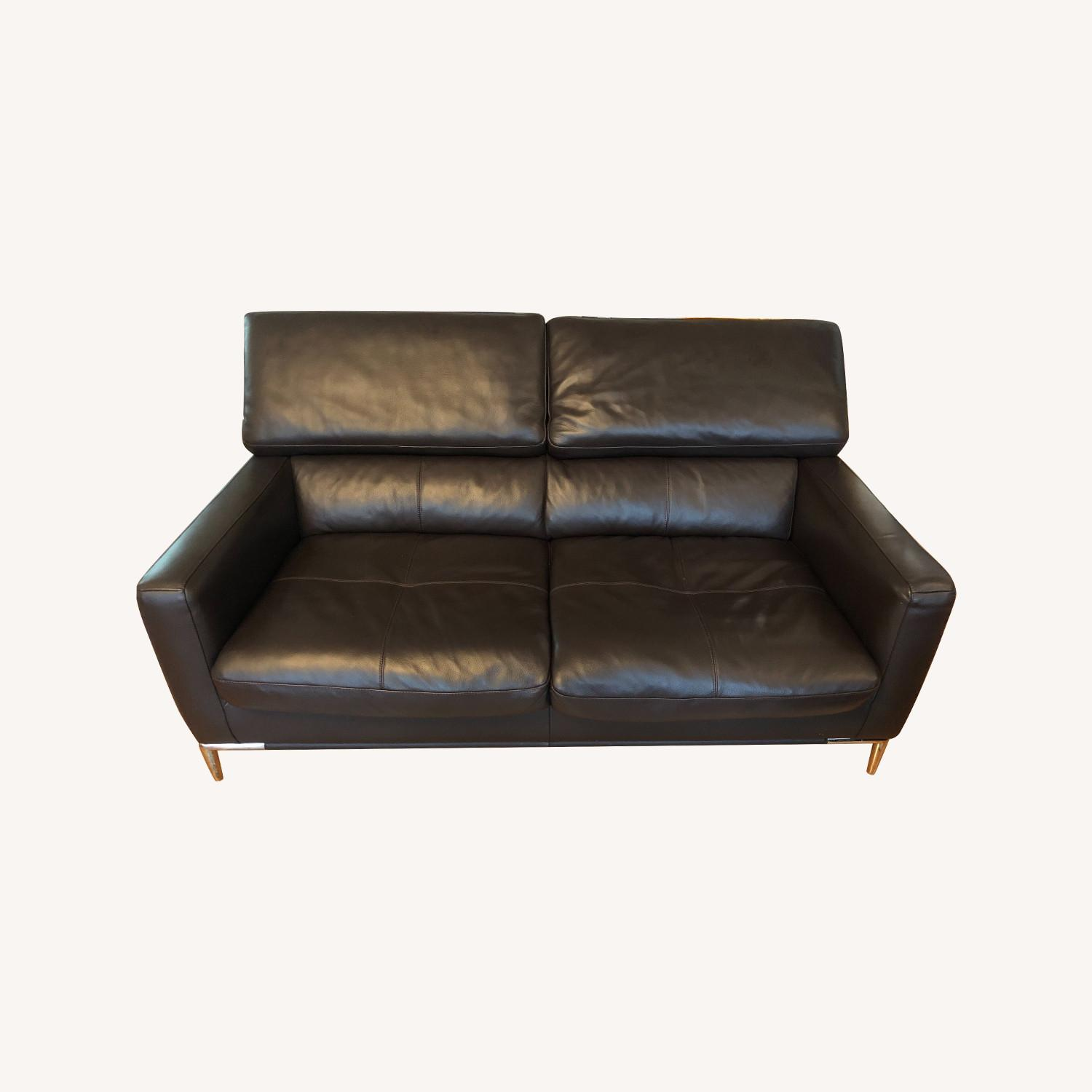 Dark Brown Leather Loveseat and Ottoman - image-0