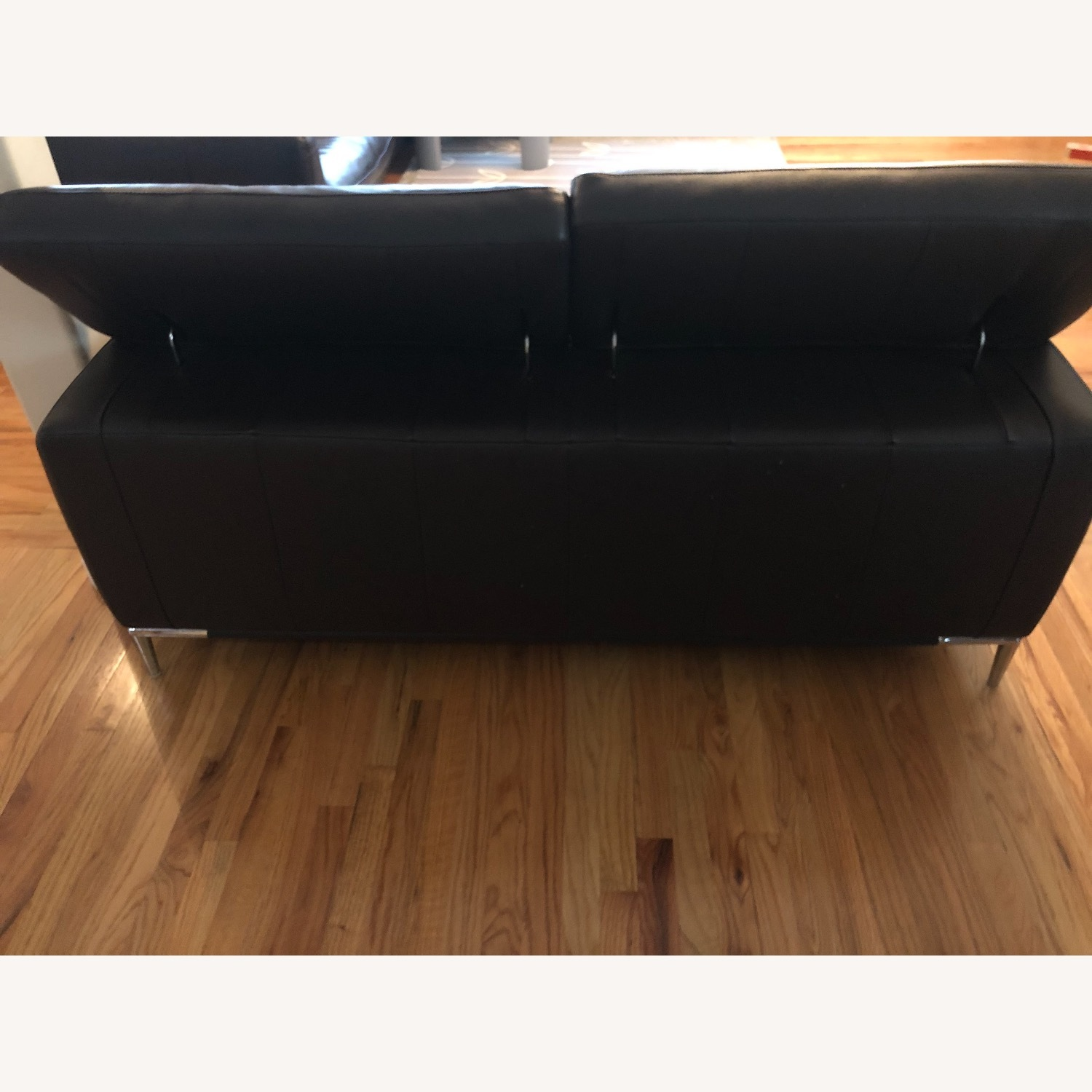 Dark Brown Leather Loveseat and Ottoman - image-4