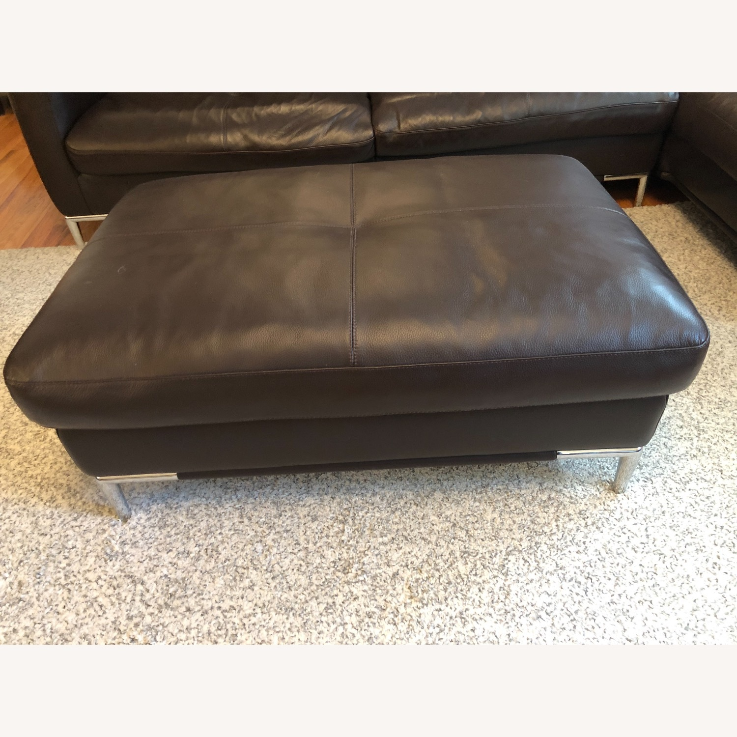 Dark Brown Leather Loveseat and Ottoman - image-6