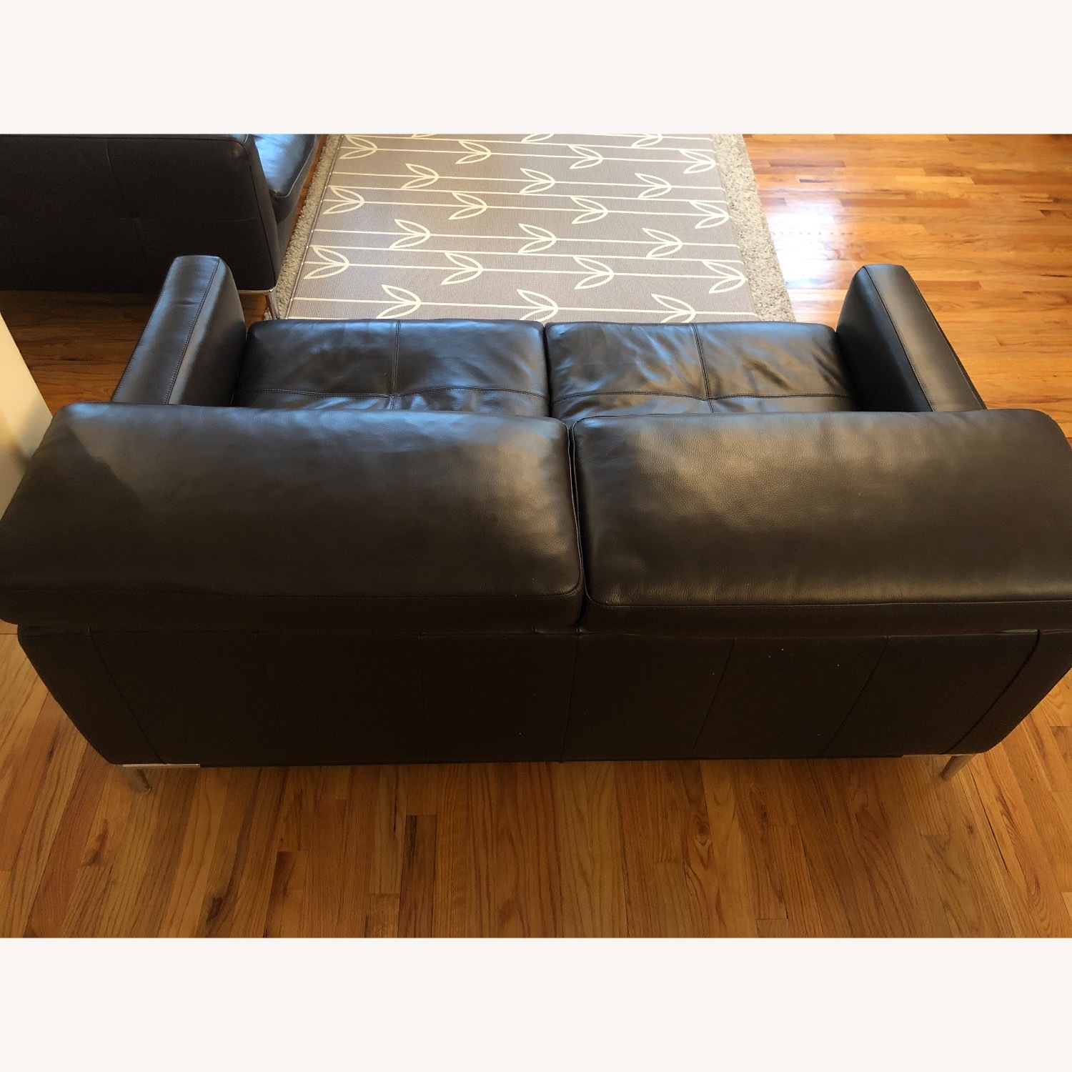 Dark Brown Leather Loveseat and Ottoman - image-5