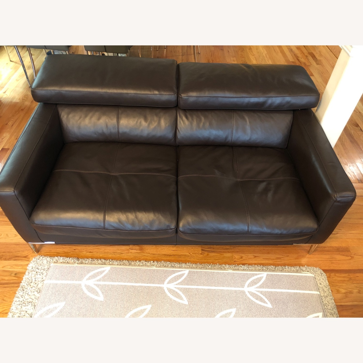 Dark Brown Leather Loveseat and Ottoman - image-2