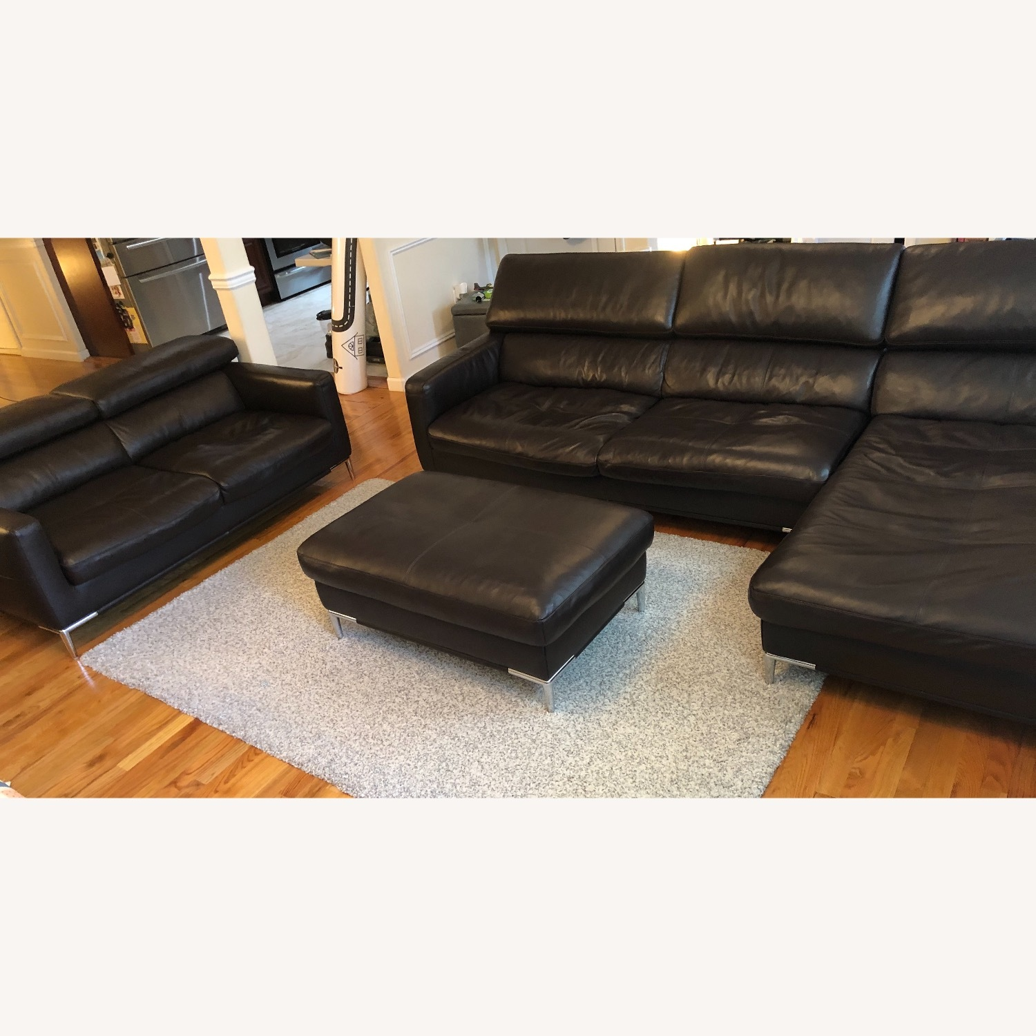 Dark Brown Leather Loveseat and Ottoman - image-7