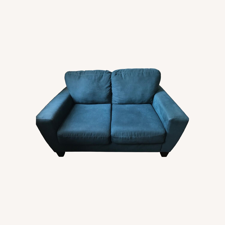 Blue Fabric Loveseat / 2 Seater Sofa - image-0