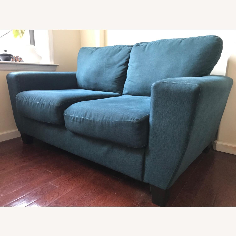 Blue Fabric Loveseat / 2 Seater Sofa - image-4