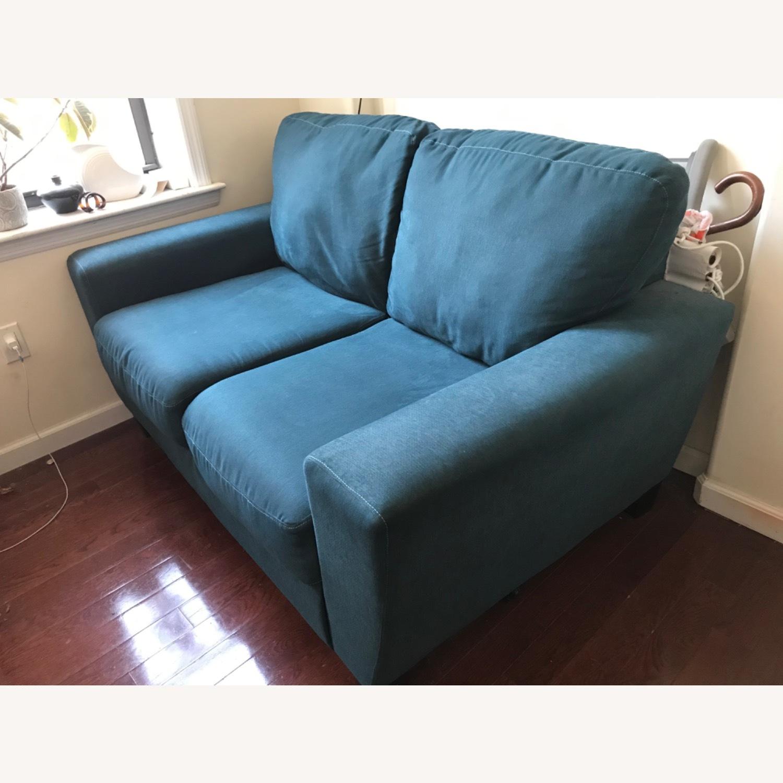 Blue Fabric Loveseat / 2 Seater Sofa - image-5