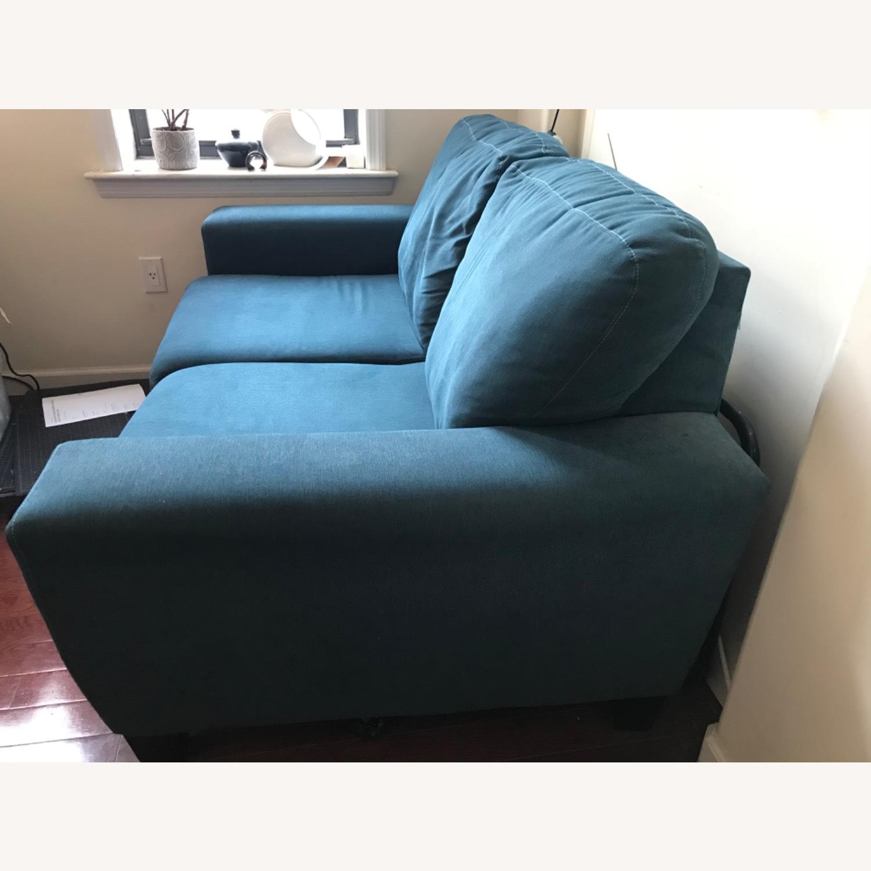 Blue Fabric Loveseat / 2 Seater Sofa - image-3