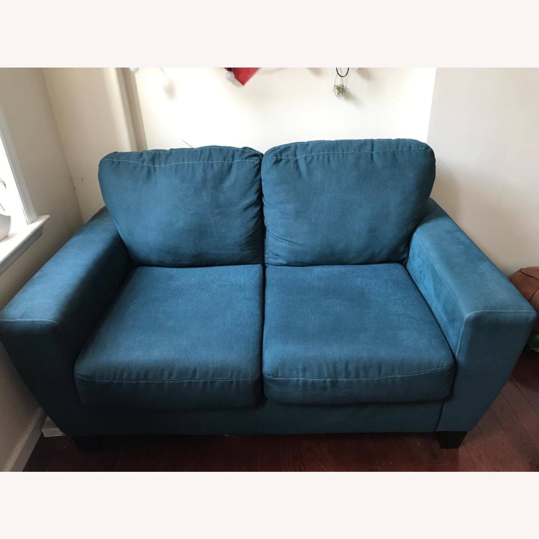 Blue Fabric Loveseat / 2 Seater Sofa - image-2