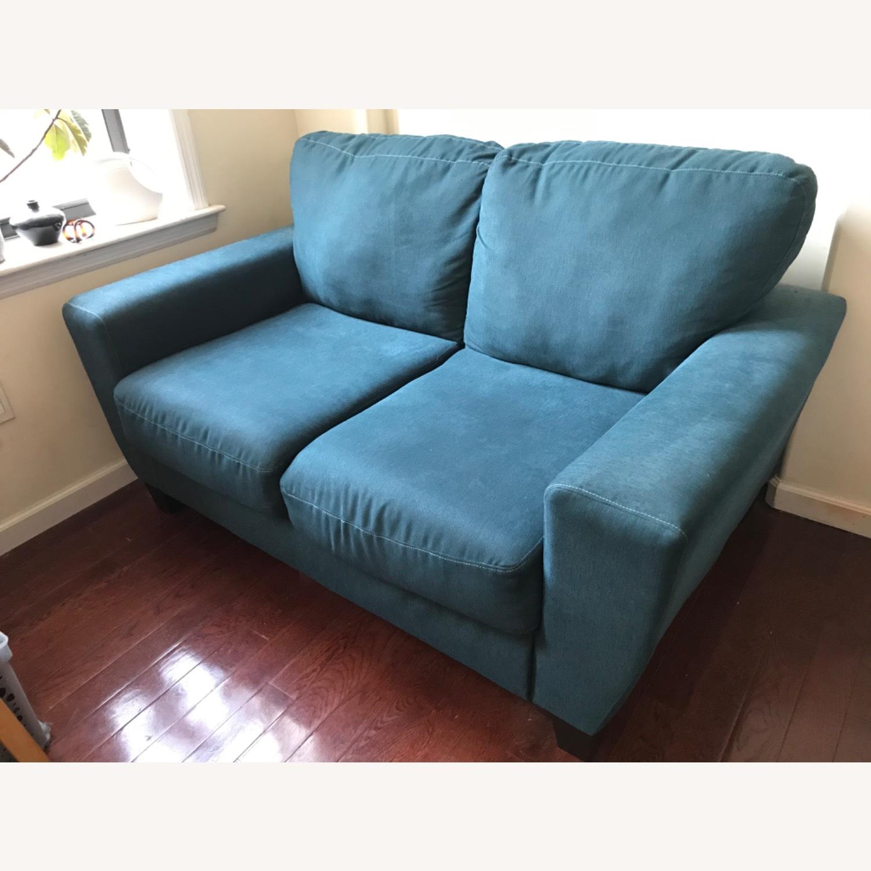 Blue Fabric Loveseat / 2 Seater Sofa - image-1