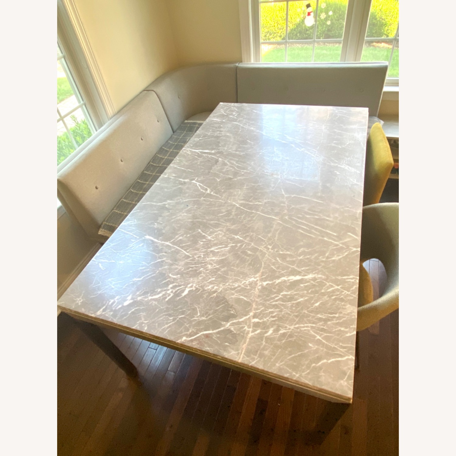 Crate and barrel grey marble dining table - image-2
