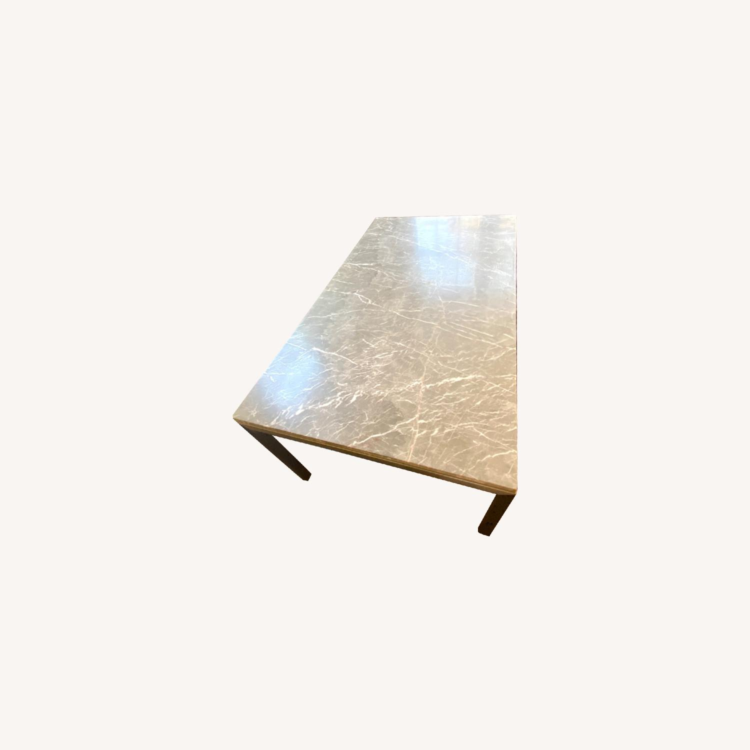 Crate and barrel grey marble dining table - image-0