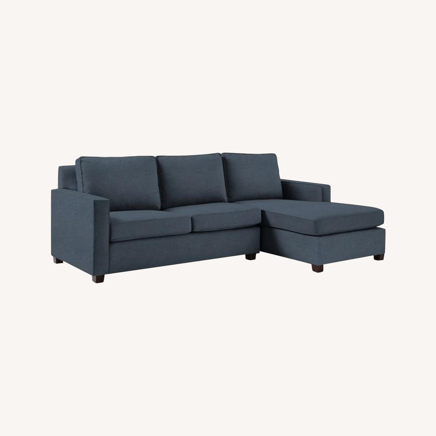 West Elm Henry L-Shaped Sofa in Blue Twill - image-0