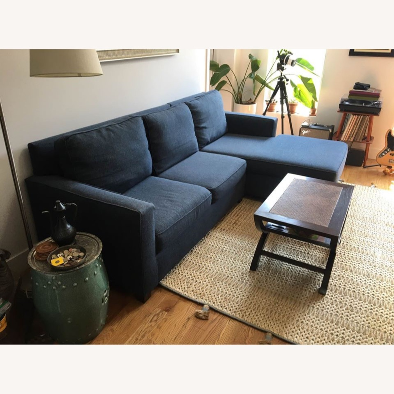 West Elm Henry L-Shaped Sofa in Blue Twill - image-2