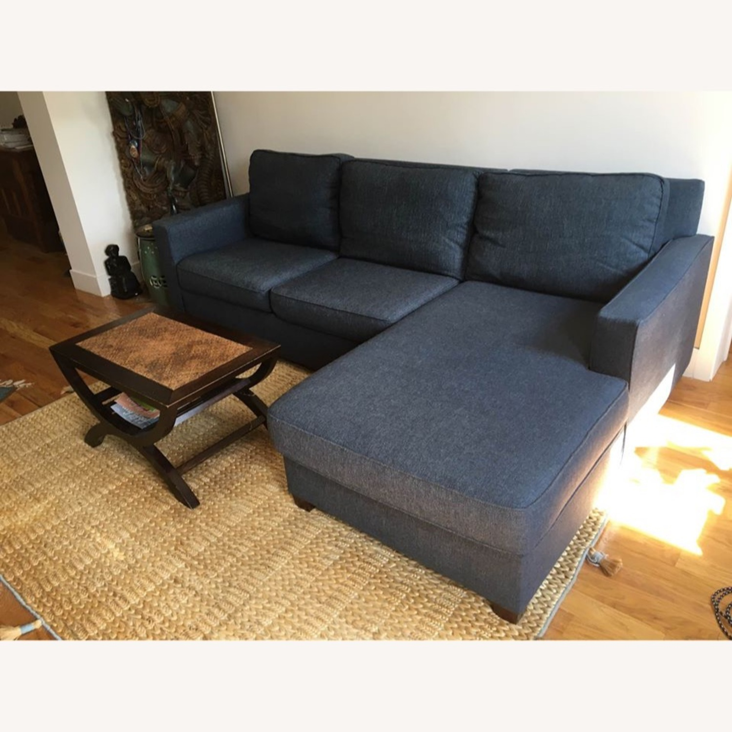 West Elm Henry L-Shaped Sofa in Blue Twill - image-3