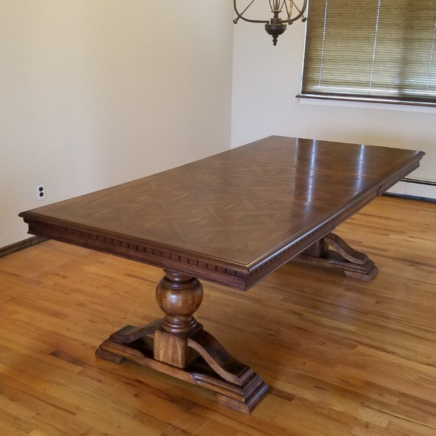 Double Pedestal Dining Table w/ 8 Cane Back Chairs - image-0